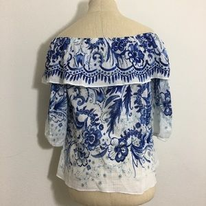 Anthropologie Bailey44 Blue & White Grecian Top XS